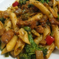 PENNE WITH KUNG PAO CHICKEN, BEEF, AND BROCCOLI RECIPE