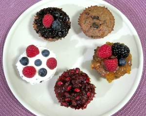 VARIETY OF BANANA TRIPLE BERRY ALMOND CHOCOLATE CHIP CUPCAKES