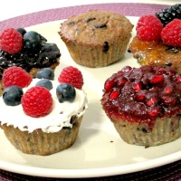 BANANA TRIPLE BERRY ALMOND CHOCOLATE CHIP CUPCAKES RECIPE